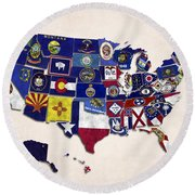 United States Map With Fifty States Round Beach Towel