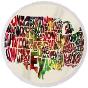 United States Watercolor Map Round Beach Towel