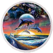 Universal Dolphins Round Beach Towel