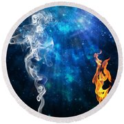 Universal Energies At War Round Beach Towel by Leanne Seymour