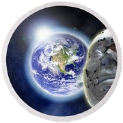 Alone In The Universe Round Beach Towel by Stefano Senise
