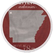 University Of Arkansas Razorbacks Fayetteville College Town State Map Poster Series No 013 Round Beach Towel by Design Turnpike