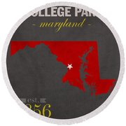 University Of Maryland Terrapins College Park College Town State Map Poster Series No 061 Round Beach Towel
