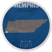 University Of Memphis Tigers Tennessee College Town State Map Poster Series No 063 Round Beach Towel