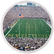 University Of Michigan Football Game Round Beach Towel by Panoramic Images