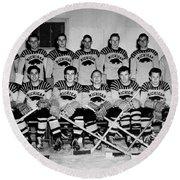 University Of Michigan Hockey Team 1947 Round Beach Towel by Mountain Dreams