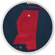 University Of Mississippi Ole Miss Rebels Oxford College Town State Map Poster Series No 067 Round Beach Towel