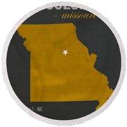University Of Missouri Tigers Columbia Mizzou College Town State Map Poster Series No 069 Round Beach Towel