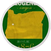 University Of Oregon Ducks Eugene College Town State Map Poster Series No 086 Round Beach Towel