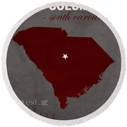 University Of South Carolina Gamecocks Columbia College Town State Map Poster Series No 096 Round Beach Towel