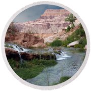 Unspoiled Waterfall Round Beach Towel