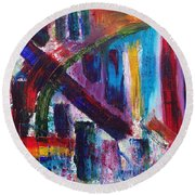 Round Beach Towel featuring the painting Untitled # 9 by Jason Williamson