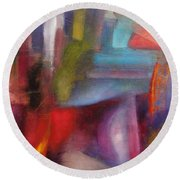 Round Beach Towel featuring the painting Untitled #3 by Jason Williamson