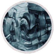 Monochrome Teal Working Machine Round Beach Towel by rd Erickson