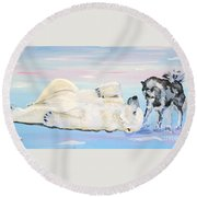 Round Beach Towel featuring the painting Unusual Buddies  Must Open by Phyllis Kaltenbach