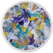 Round Beach Towel featuring the painting Unwinding by Heidi Smith