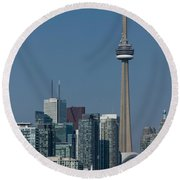 Up Close And Personal - Cn Tower Toronto Harbor And Skyline From A Boat Round Beach Towel