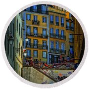Up The Stairs - Lisbon Round Beach Towel by Mary Machare