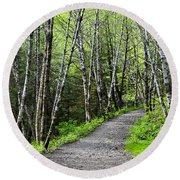 Round Beach Towel featuring the photograph Up The Trail by Cathy Mahnke