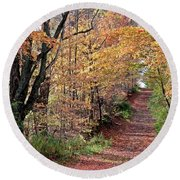Up The Wooded Lane Round Beach Towel