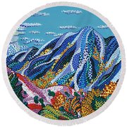 Up To The Mountains Round Beach Towel