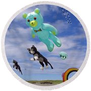 Round Beach Towel featuring the photograph Up Up And Away by E Faithe Lester