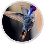 Round Beach Towel featuring the photograph Up Up And Away Male Hummingbird by Jay Milo