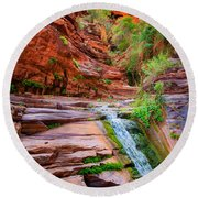 Upper Elves Chasm Cascade Round Beach Towel