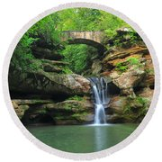 D10a-113 Upper Falls At Old Mans Cave Hocking Hills Photo Round Beach Towel