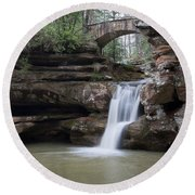 Upper Falls At Old Mans Cave II Round Beach Towel