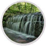 Upper Falls At Stillhouse Hollow Round Beach Towel