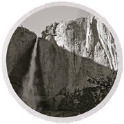 Upper Yosemite Falls Composition In Triangles Round Beach Towel