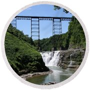 Upper Falls Of The Genesee River  Round Beach Towel by Christiane Schulze Art And Photography