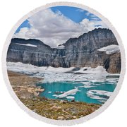 Upper Grinnell Lake And Glacier Round Beach Towel