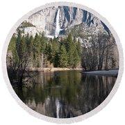 Upper Yosemite Fall Round Beach Towel