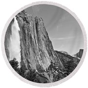 Upper Yosemite Fall With Half Dome Round Beach Towel