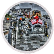 Ural Wolf 750 And Sidecar Round Beach Towel by Steve Purnell