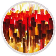 Round Beach Towel featuring the painting Urban Abstract Glowing City by Irina Sztukowski