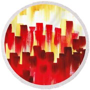 Round Beach Towel featuring the painting Urban Abstract Red City Lights by Irina Sztukowski