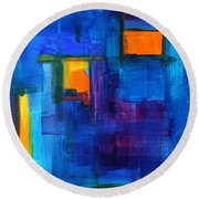 Urban Architecture Abstract Round Beach Towel