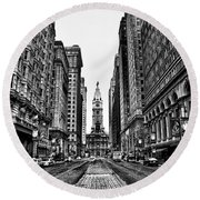 Urban Canyon - Philadelphia City Hall Round Beach Towel by Bill Cannon