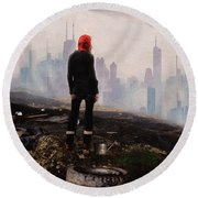 Round Beach Towel featuring the digital art Urban Human by Galen Valle
