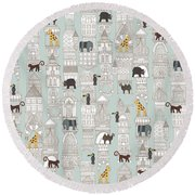 Urban Jungle Silver Round Beach Towel by Sharon Turner