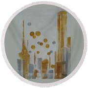 Round Beach Towel featuring the painting Urban Polish by Judith Rhue