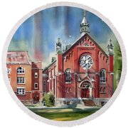 Round Beach Towel featuring the painting Ursuline Academy With Doves by Kip DeVore