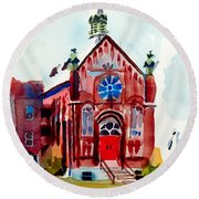 Round Beach Towel featuring the painting Ursuline II Sanctuary by Kip DeVore