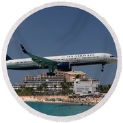 U S Airways At St Maarten Round Beach Towel by David Gleeson