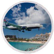 U S Airways Landing At St. Maarten Round Beach Towel by David Gleeson