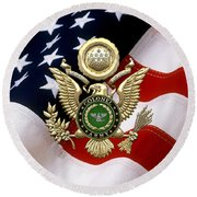 U. S. Army Colonel - C O L Rank Insignia Over Gold Great Seal Eagle And Flag Round Beach Towel
