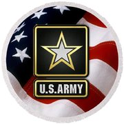 U. S. Army Logo Over American Flag. Round Beach Towel